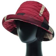 [플릭앤플록]RCU22.체크 퀼팅 귀달이 여성 벙거지 모자