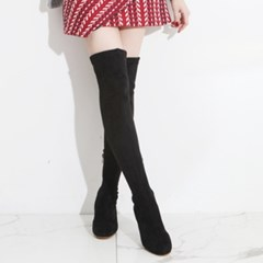 kami et muse Elastic suede middle heel knee high boots_KM19w266