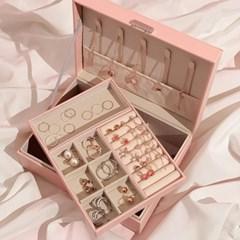 [2/21예약발송] 악세사리 귀걸이 2단 보관함 디어 핑크 박스