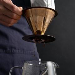 [칼딘] 로즈골드 티타늄 커피 드리퍼 핸드드립 세트 TP-01 600ml