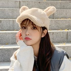 겨울 동물모자 밍크 털 토끼귀 캐릭터 볼캡