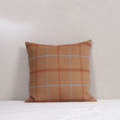 Camel Wool Check Cushion