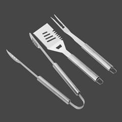 스텐 바비큐 조리도구 3종/집게+뒤집개+포크 캠핑용품
