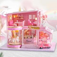 DIY 미니어처 풀하우스 - 핑크 회전목마_(1260200)