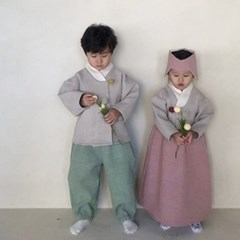 밀) 여아한복(저고리+치마+조바위)