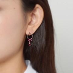 블랙핑크 리본 귀걸이