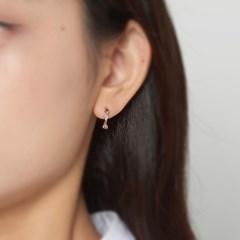 핑크 라인 큐빅 후프 귀걸이