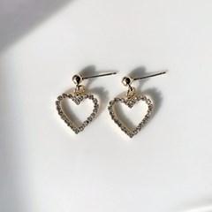 하트 큐피드 큐빅 드롭귀걸이_heart cupid drop earring