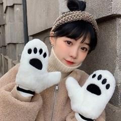 코라 귀여운 발바닥 겨울 털장갑_(2324624)