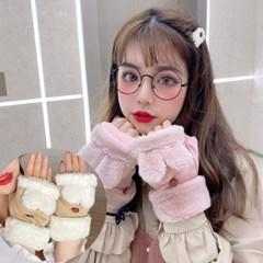 레니 무스탕 토끼 장갑 페이크퍼 장갑_(2324620)