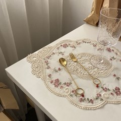 프랑세즈 자수 레이스 테이블 매트 홈카페