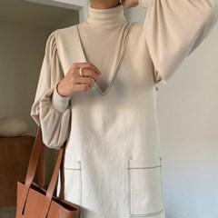 셔링 숄더 폴라 티셔츠