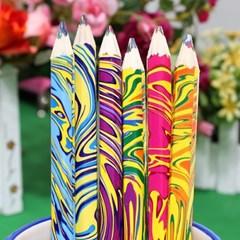 6p 마블링 색연필(17cm)/학원판촉용 학교납품