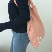 slowstitch simple logo bag ( pink )