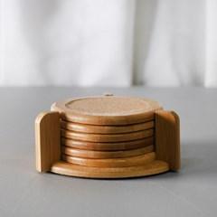대나무 코르크 컵받침 7p세트
