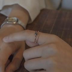 [디유아모르] 18k 반지 러프다이아 트위스트 링_(1086391)