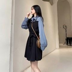 배색 투톤 캐쥬얼 셔츠 루즈핏 미니 원피스