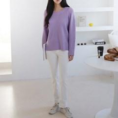 여성 심플 골지 사면 라운드넥 펀칭 니트 티셔츠