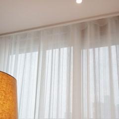 화이트 줄무늬 도트 린넨st 거실 속커튼