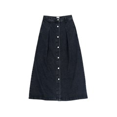 Denim open skirt - black