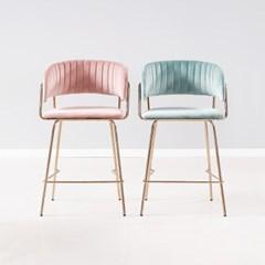 [데코마인] 첼리 로즈골드 벨벳 바체어 홈바의자 카페의자