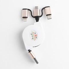 3in1 릴타입 충전케이블 5핀 8핀 C타입/스마트폰충전