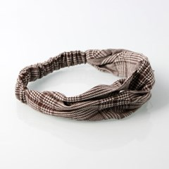 멜리아 헤어밴드(체크)/꼬임 반다나 머리띠