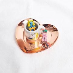 플리징 핑크 하트 메탈 트레이