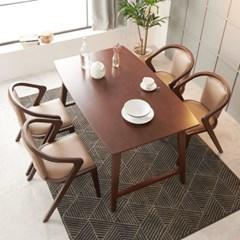 아르메 리누 고무나무 원목 4인 식탁세트(의자4)