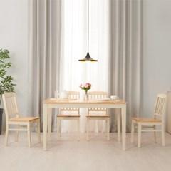 아르메 버니 고무나무 원목 4인 식탁세트(의자2+벤치1)