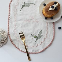 달벗 자수보 - 은방울꽃(타원)