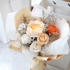 옐로우오렌지 작약&장미 비누꽃다발
