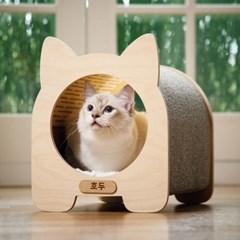 고양이 스크래쳐 숨숨집 원목 고양이집 펫하우스 한꼬