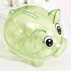 초록색 투명 돼지저금통/ 용돈저축 동전저금통