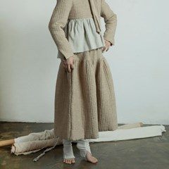 퀼티드 린넨 플레어 스커트 : Quilted linen flare skirt - Beige