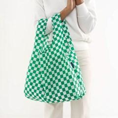 [바쿠백] 휴대용 장바구니 접이식 시장가방 Green Check_(2081746)
