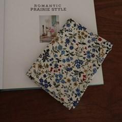 패턴손수건-블루들꽃