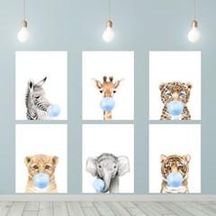 동물포스터 껌 좀 씹는 귀여운동물들 12종