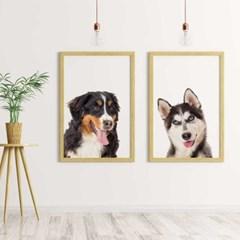 강아지 동물초상화 주문제작 무광포스터 A4사이즈