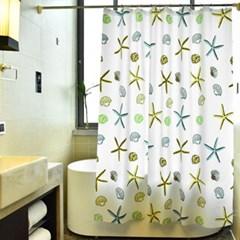 홈바쓰 샤워커튼/화장실 욕실 일러스트 방수 목욕커튼
