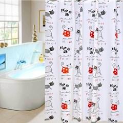 홈카터 고양이 샤워커튼 / 120x180cm 욕실커튼