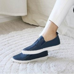 kami et muse Cross circle patch leather slip on_KM19w319