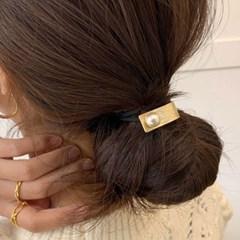 [2 color] 무광 진주 메탈 방울 머리끈