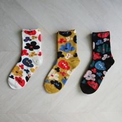 유니크 꽃 패턴 양말 (3color)