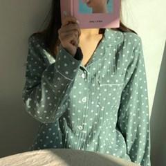 요루 순면 핑퐁 도트 파자마 잠옷 세트