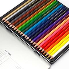 MUNHWA 고급 색연필 24색 문구용품 미술도구 틴
