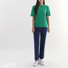 여자 라운드넥 실키 면 코튼 레이어드 기본 반팔 티셔츠