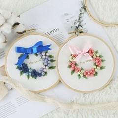 101도 프랑스자수패키지 DIY 꽃방울 리스 만들기 3color