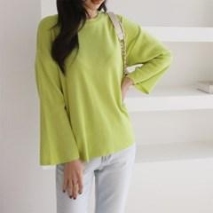 여자 봄 루즈핏 신상 로직 라운드넥 오버 긴팔 니트 라운드 티셔츠