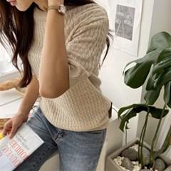 여자 봄 2020 신상 라운드넥 꽈배기 반팔 니트 티셔츠